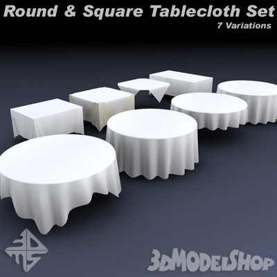 Table Cloth Set Round Square Digital 3d Models 3dmodelshopcom